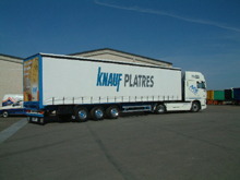 Here are the sliding curtains of this Knauf's semitrailer